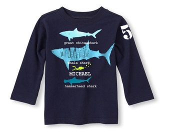 Shark Birthday  T-Shirt, Shark shirt for boys, Personalized shark birthday t shirt, Shark party theme, Shark party invite, Shark party shirt