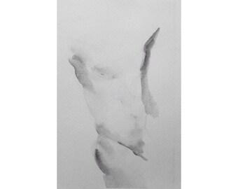 Torso  - 5.5 x 8.5, graphite/wash on paper