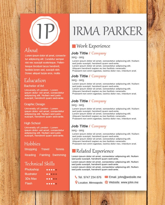 custom resume template word resume template photoshop