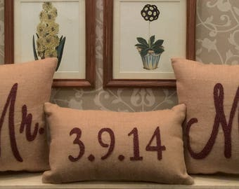30%OFF Sale Mr.& Mrs. Wedding Name and Date Custom Pillow set Beaded Wedding Decor Couple Pillows Anniversary Valentine Gift Insert Included