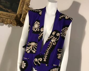 Diane von Furstenberg Silk Purple Patterned Floral Blouse Top - Size Medium