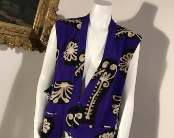 Diane von Furstenberg Silk Purple Patterned Floral Blouse Top - Size Medium