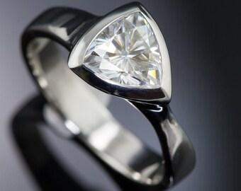 7.5mm Trillion Forever Brilliant Moissanite Engagement Ring, Bezel Solitaire Engagement Ring in Palladium, Platinum, Yellow Gold, Rose Gold