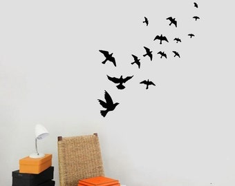 Bird Wall Decals, Set Of 12 Birds, Bird Vinyl Decal, Bird Vinyl Decal,  Sparrow, Bird Wall Decor, Vinyl Bird Sticker