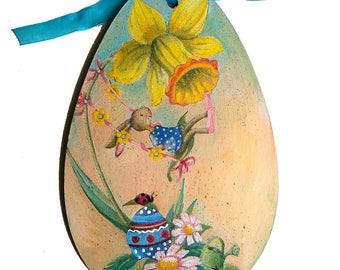 Happy Easter, Easter Decorations, Easter Bunny, Spring Decor, Wood egs, easter egg, decoupage egg, rabbit,children gift, painted egg