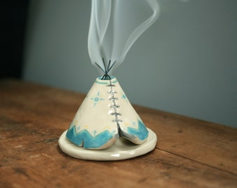 TeePee Incense Burner Holder, Handmade Ceramic, Teal Boho Aztec Pattern, Bridesmaid Gift, Unique Bohemian Gift, Meditation Altar