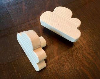 Drawer knob or peg cloud natural wood