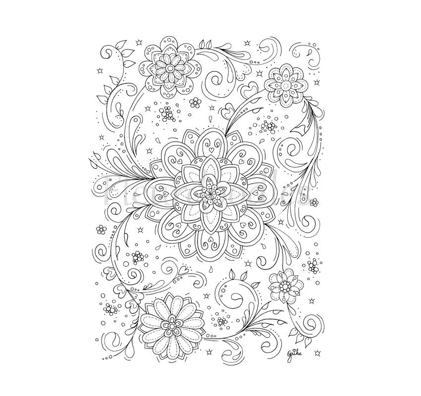 adult coloring page Flower Swirls coloring pages floral
