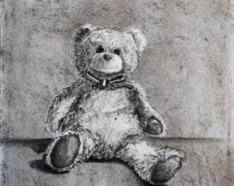 Stuffed Animal Portraits (Charcoal, graphite, colored pencil, or watercolor)