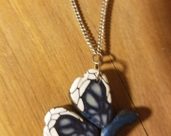 Polymer Clay Blue Butterfly and Flower Chain Necklace