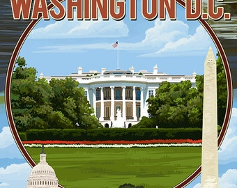 Washington, DC - Montage (Art Prints available in multiple sizes)