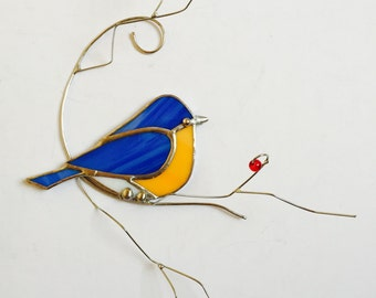 Favorite backyard bird Eastern Bluebird on 3-D branch stained glass sun catcher with red berries