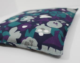 Large Square Rice Bag - 9 x 9 inches, hot or cold therapy pack, rice heating pad, foot warmer, navy, abstract floral pattern