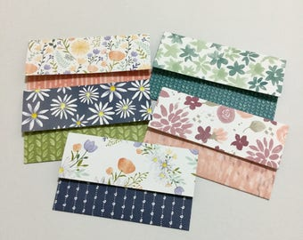 Gift Card Holders with Note Cards - Set of 5 Floral Designs
