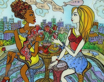Original Glass Painting, Change Lives, Become a Teacher, Version IV