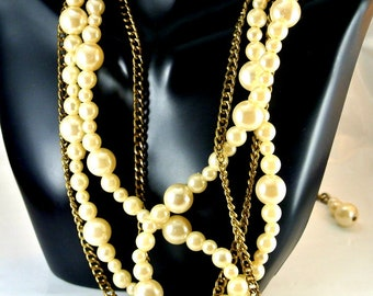 36 Inch Pearl and Chain Long Necklace 3 Size Pearls and 1 36 Inch Chain with an Extra 10 Inch Chain with Pearls