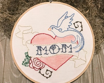 Mother's Day Embroidery Hoop Art, Mom Tattoo, Bluebird Art, Gift for Mom
