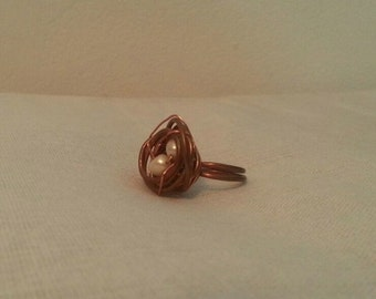 Nurture: Copper and Pearl Nest Ring
