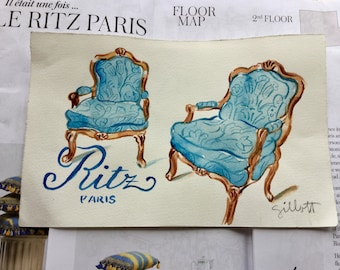 """Ritz Paris, Two tapestry arm chairs, original watercolor, size: 6"""" x 8"""""""
