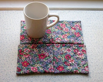 purple and pink flowers spring summer hand quilted set of mug rugs coasters