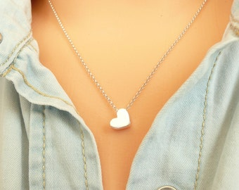 Heart Necklace in Sterling Silver, Tiny Heart Necklace, Dainty Gold Necklace, Thin Chain Necklace, Minimalist Necklace