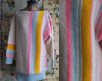 Vintage 1980s 1990s Handmade Knit Pastel Stripe Sweater. XL. Pink, Blue.