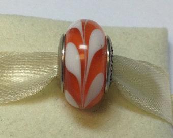 Authentic Pandora Silver Orange Swirly Swirl Charm #790668
