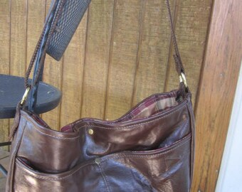 Close out: Handmade Genuine Leather Handbag/Purse in Shiny Dark Brown, Large, #403