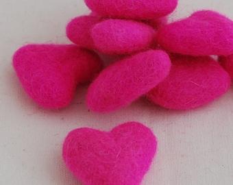 3cm 100% Wool Felt Hearts - 100 Count - Hot Pink