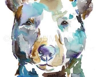 Black Bear Watercolor Portrait Print, Bear Painting, Watercolor Print of Bear, Nursery Art, Woodland Art, Woodland Painting, Nursery Water