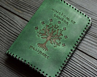 Leather passport cover Tree of Gondor The Lord of the Rings LOTR Kingdom of Gondor Aragorn Fantasy Middle-earth Legolas Gandalf Tolkien