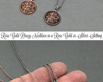 Rose Gold Necklace Druzy Necklace Gemstone Necklace, Druzy Jewelry Silver Druzy Daughter Gift Druzy Pendant Rose Gold Druzy Crystal Necklace