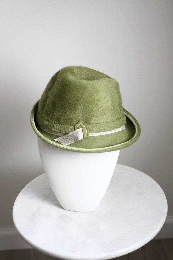1960s green fur fedora hat // 1960s green hat // vintage hat