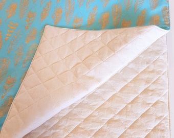 Turquoise Gold Feather Padded Play Mat - Handmade in South Australia READY TO SHIP