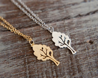 Little Tree Necklace, Available in Silver and Gold, Single Leafy Tree, Woodland Forest Nature , Minimalist Simple Necklace, Openwork Detail