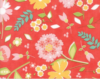 Flower Mill Bloomy Poppy Red by Corey Yoder Moda Fabrics 29030 16 Flower Mill fabric, red floral fabric, coriander quilts