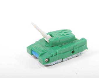 Transformers, Bombshock, Green Tank, Vintage, 1980s, Transformative, Robot, Toy, Micromasters, G1, Blue Robot ~ The Pink Room ~ 161220