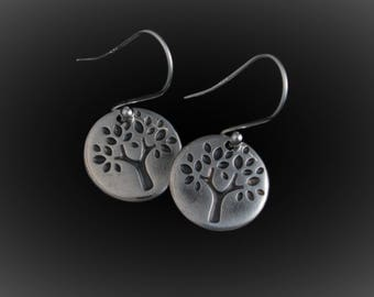 Round Tree of Life Earrings - Fine Silver Earrings -  Handmade Artisan Jewelry - ME Designs