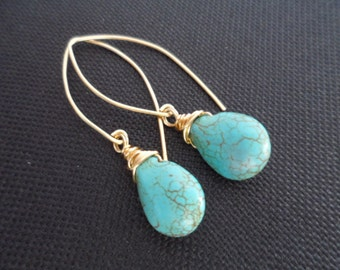Turquoise Gemstone and Gold Earrings - Great Birthday Gifts, Giveaway Gifts