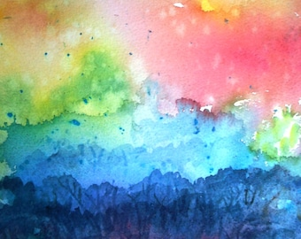 """Watercolour """"Woodland Morning- First Rays""""- Irish landscape  -original painting, forest dawn"""