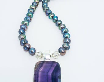 Flourite and Sterling Silver Necklace