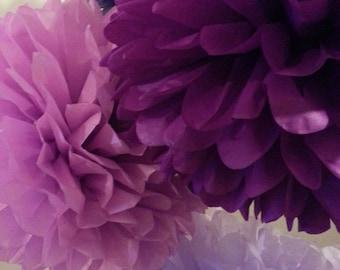 Tissue Paper Pom Poms Set of 8 - Purple decor - Weddings/decor/wedding receptions /Party /Purple desing