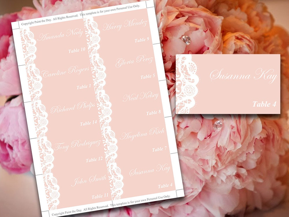 Wedding Place Cards Template Vintage Lace Blush - Reserved place card template