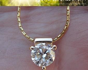 1 Carat Diamond Solitaire Pendant - 3 Prong Setting (14K Yellow Gold)