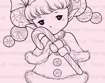 Candy Cane Sprite - Aurora Wings Digital Stamp - Christmas Holiday Fairy Image - Fantasy Line Art for Arts and Crafts by Mitzi Sato-Wiuff