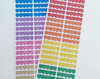 B05 || 80 Blank Glitter Scallopped Header Stickers