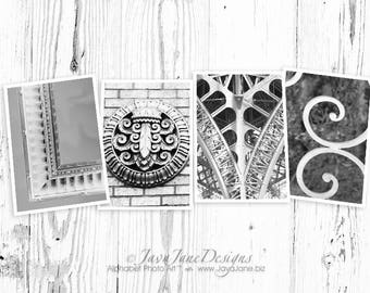 LOVE letters spelled out in alphabet photos, individual 4x6 black and white photos, architecture letters (Set 3)
