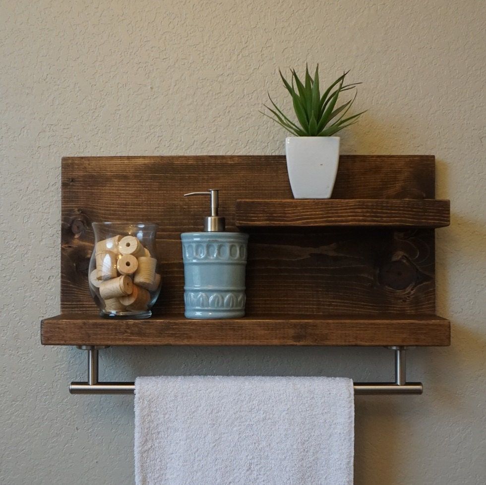 Modern Rustic 2 Tier Bathroom Shelf With 18 Satin Nickel