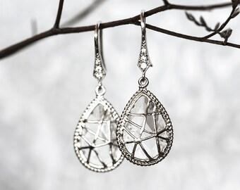 Crystal earrings Cubic zirconia earrings Teardrop earrings Bridal earrings Silver earrings Teardrop bridal earrings Dangle earrings 646