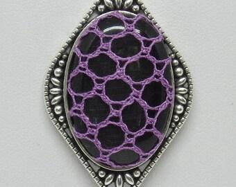 Bobbin Lace Pendant: Black Cabochon with Purple Filigree Lace Overlay
